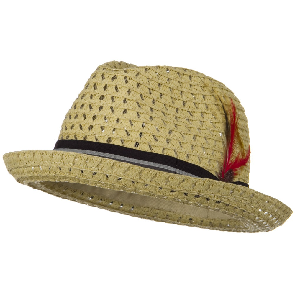 Open Weave Pattern Men's Fedora - Tan - Hats and Caps Online Shop - Hip Head Gear