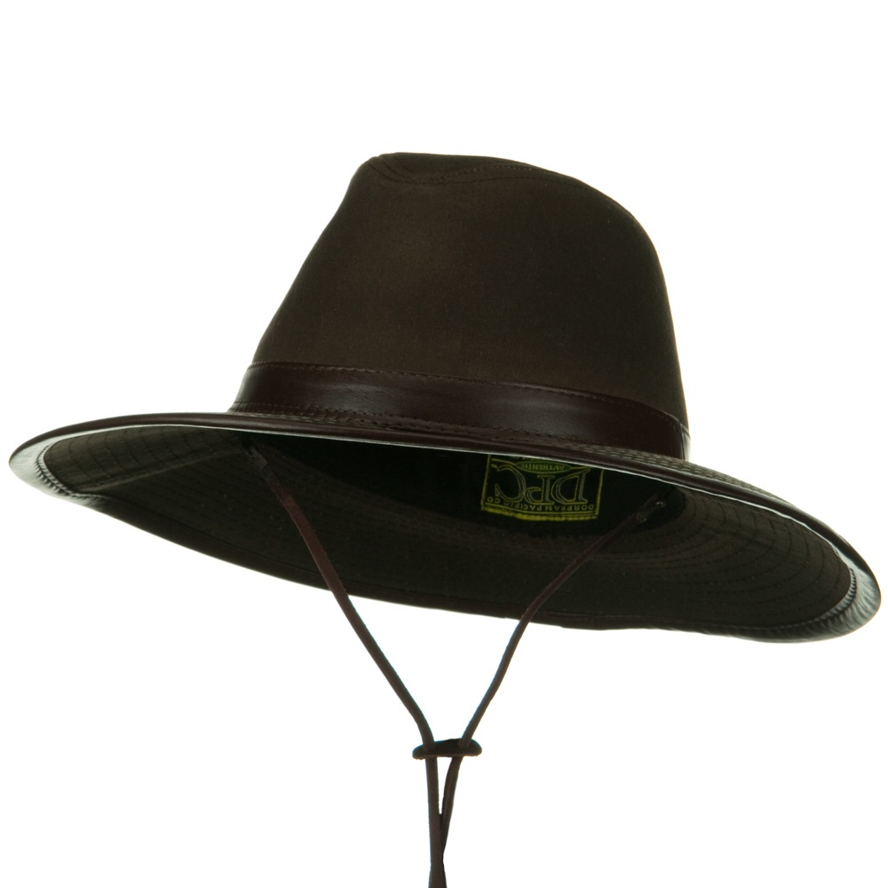 UPF 50+ Oil Cloth Safari Hat with Leather Trim - Brown - Hats and Caps Online Shop - Hip Head Gear