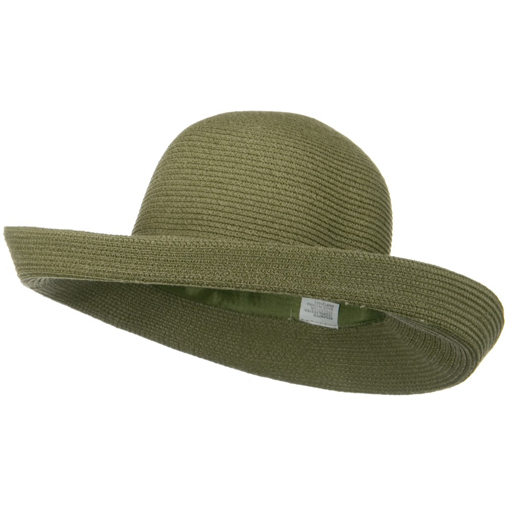 UPF 50+ Cotton Paper Braid Large Kettle Brim Hat - Sage