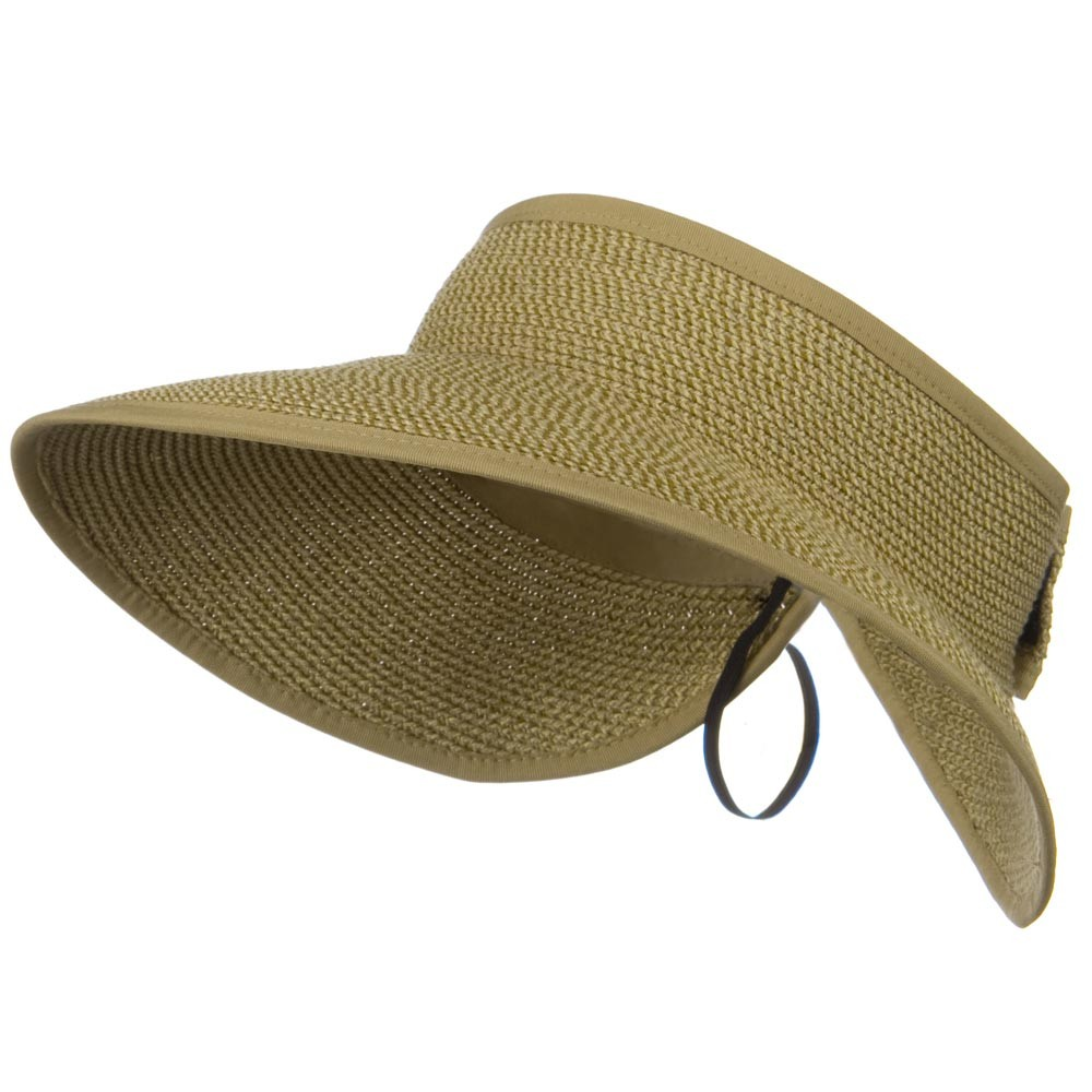 UPF 50+ Bow Tie Tweed Roll Up Visor - Tan Tweed