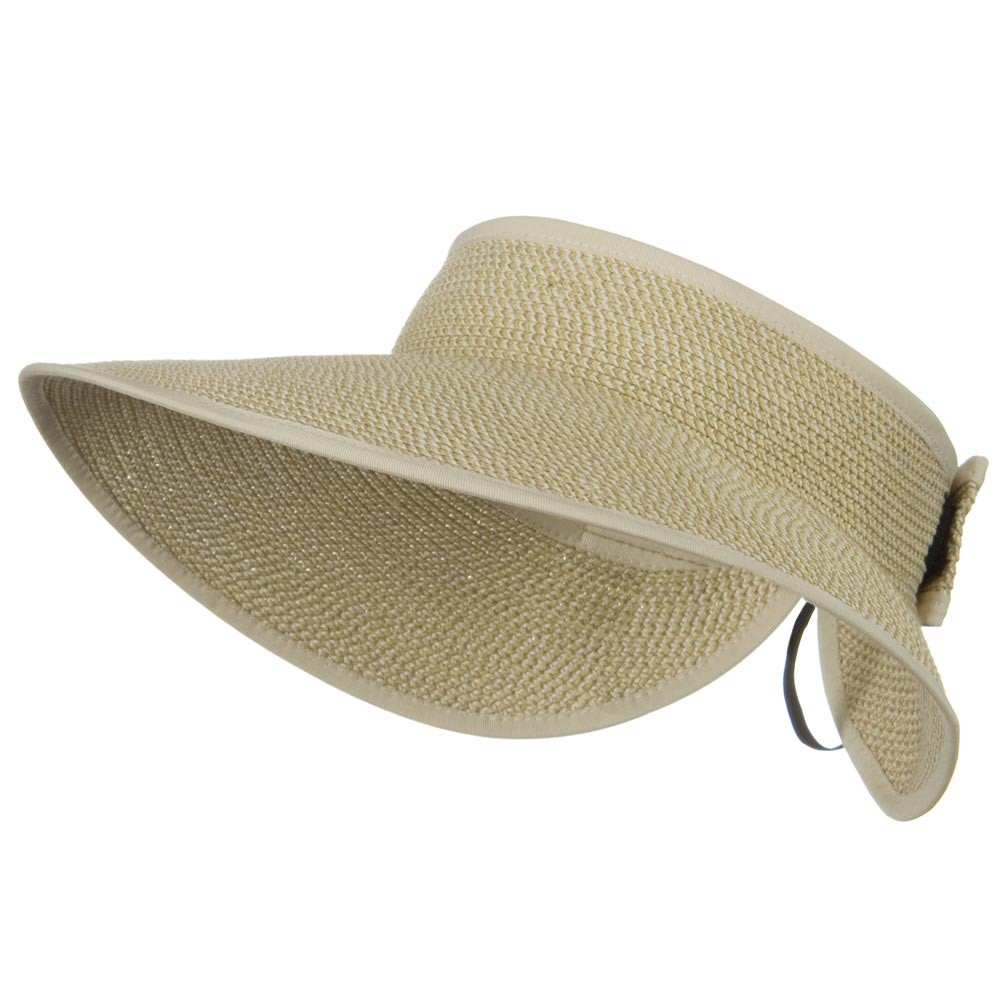 UPF 50+ Bow Tie Tweed Roll Up Visor - White Tweed