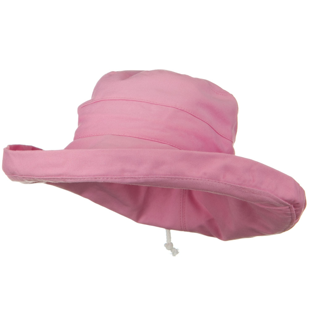 UPF 50+ Canvas Large Brim Self Tie Hat - Pink - Hats and Caps Online Shop - Hip Head Gear
