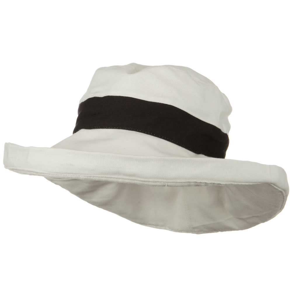 UPF 50+ Canvas Trimmed Crown Draw String Hat - Beige Black - Hats and Caps Online Shop - Hip Head Gear