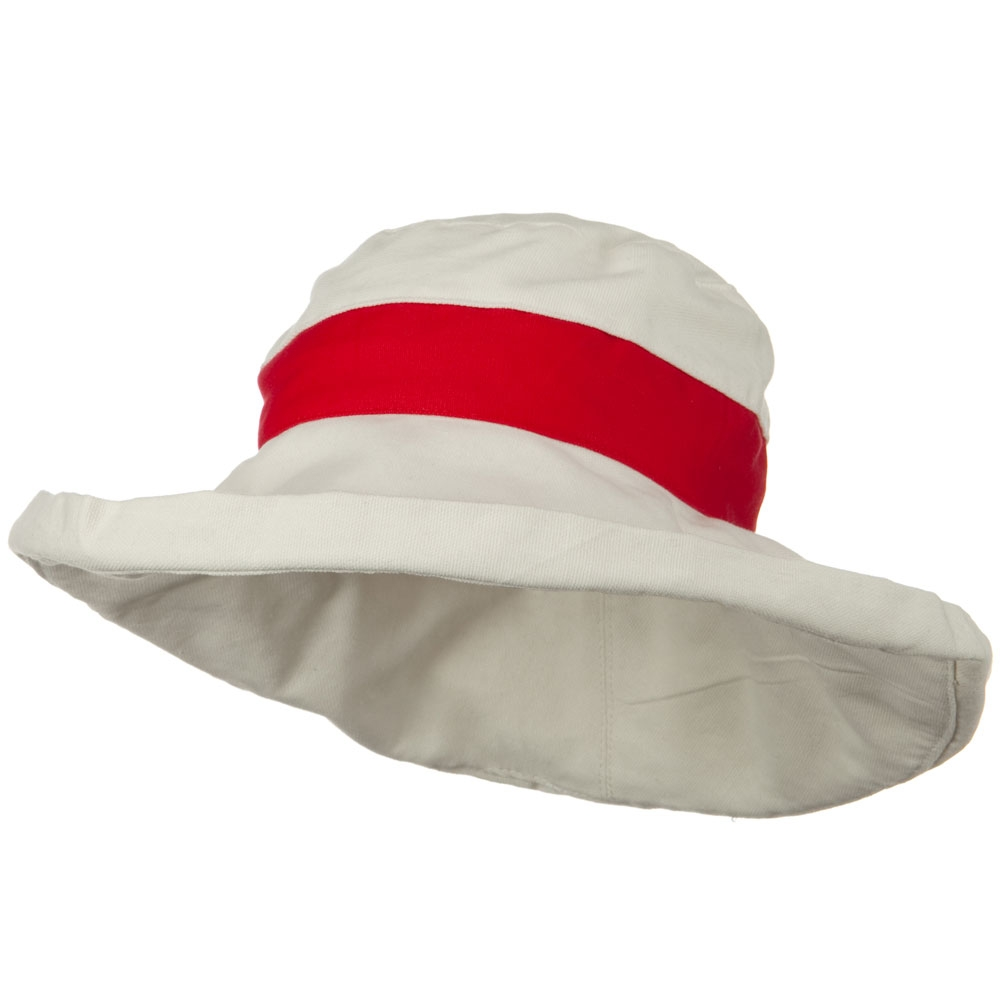 UPF 50+ Canvas Trimmed Crown Draw String Hat - Beige Red - Hats and Caps Online Shop - Hip Head Gear