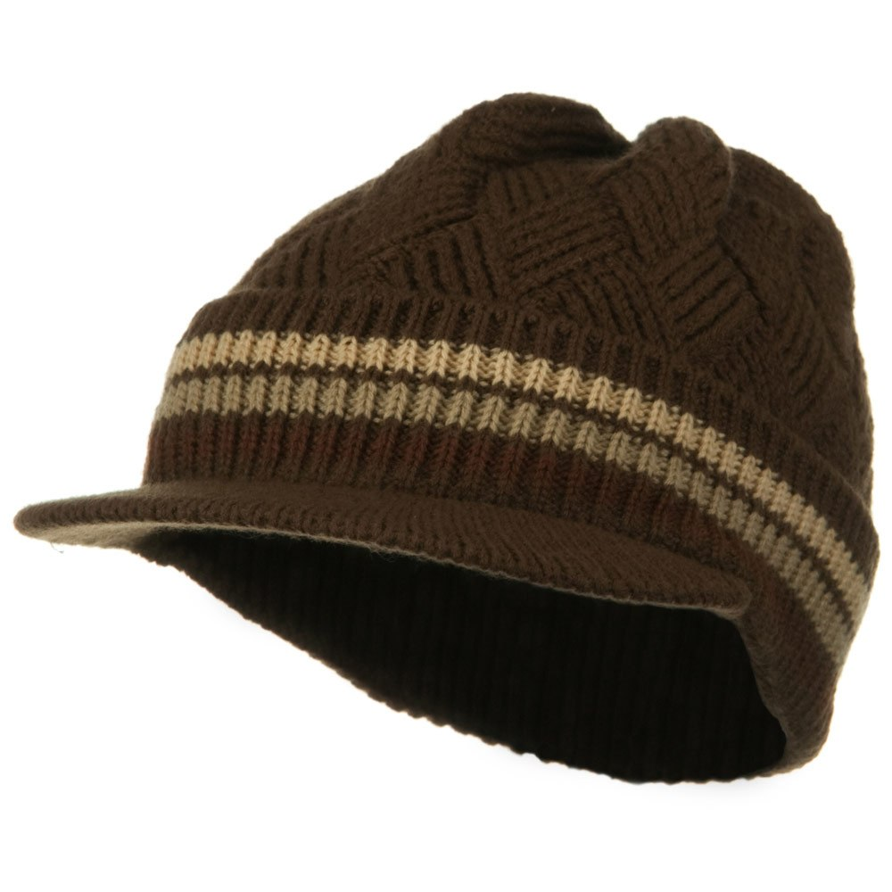 Acrylic Rasta Beanie Visor-Brown Khaki - Hats and Caps Online Shop - Hip Head Gear