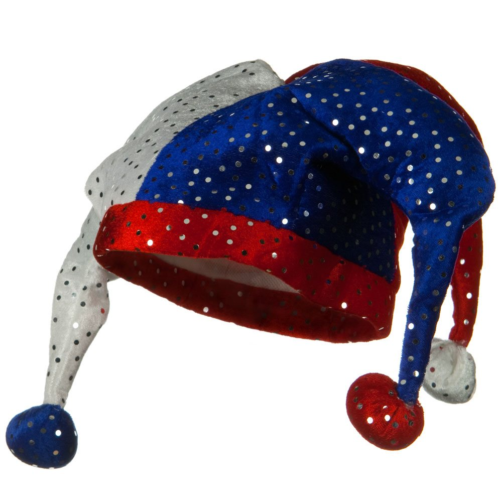 Silvered Sequin Patriot Hat - Jester Red White Blue - Hats and Caps Online Shop - Hip Head Gear
