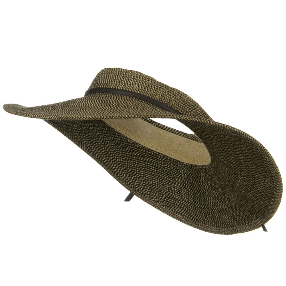 UPF50+ Crownless 4 Inch Wide Brim Visor - Black Tweed