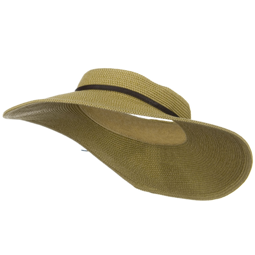 UPF50+ Crownless 4 Inch Wide Brim Visor - Tan Tweed - Hats and Caps Online Shop - Hip Head Gear
