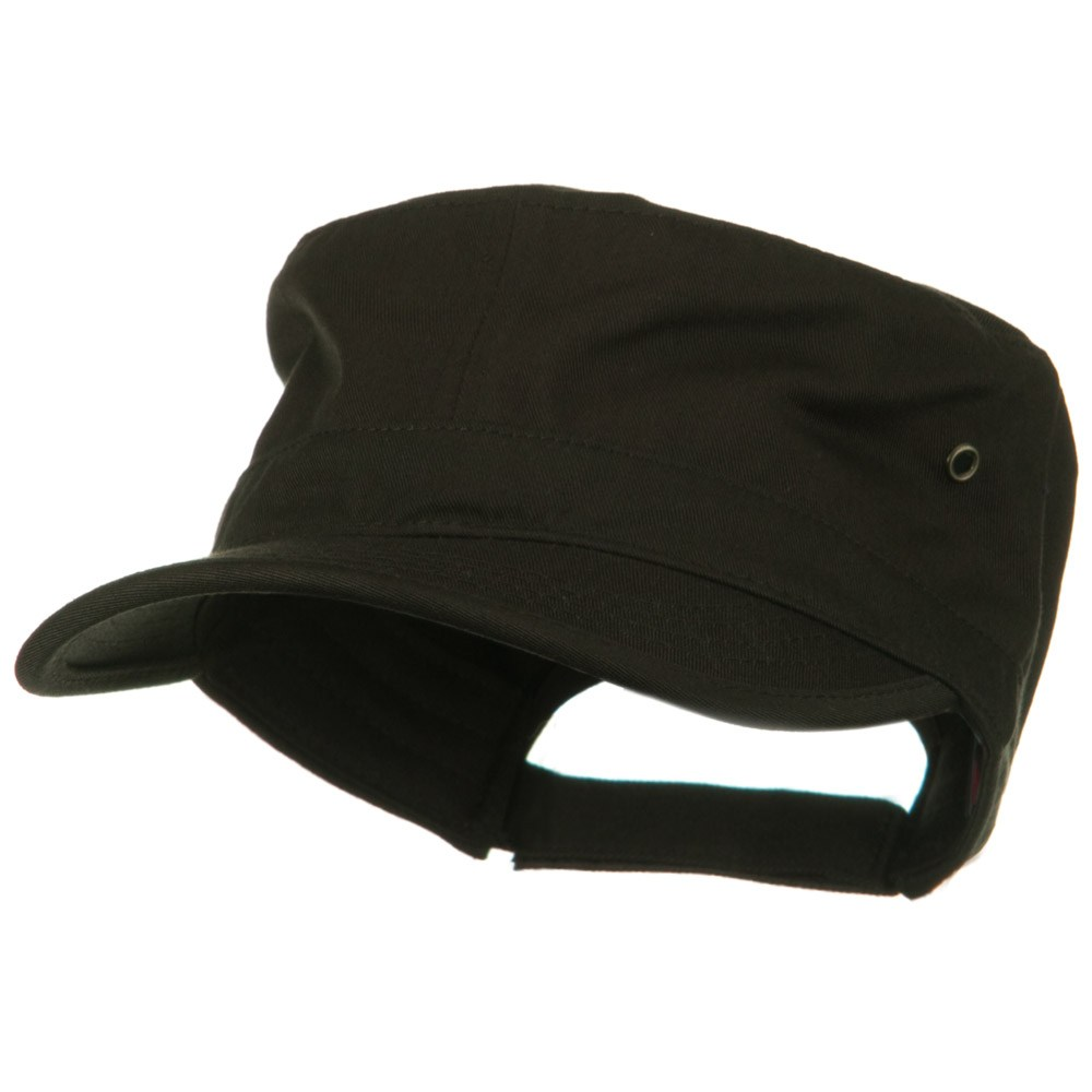 Adjustable Trendy Army Style Cap - Brown