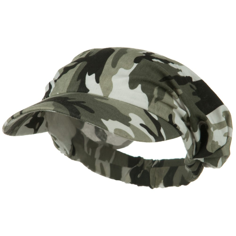 Polyester Convertible Elastic Band Camo Visor - Olive - Hats and Caps Online Shop - Hip Head Gear