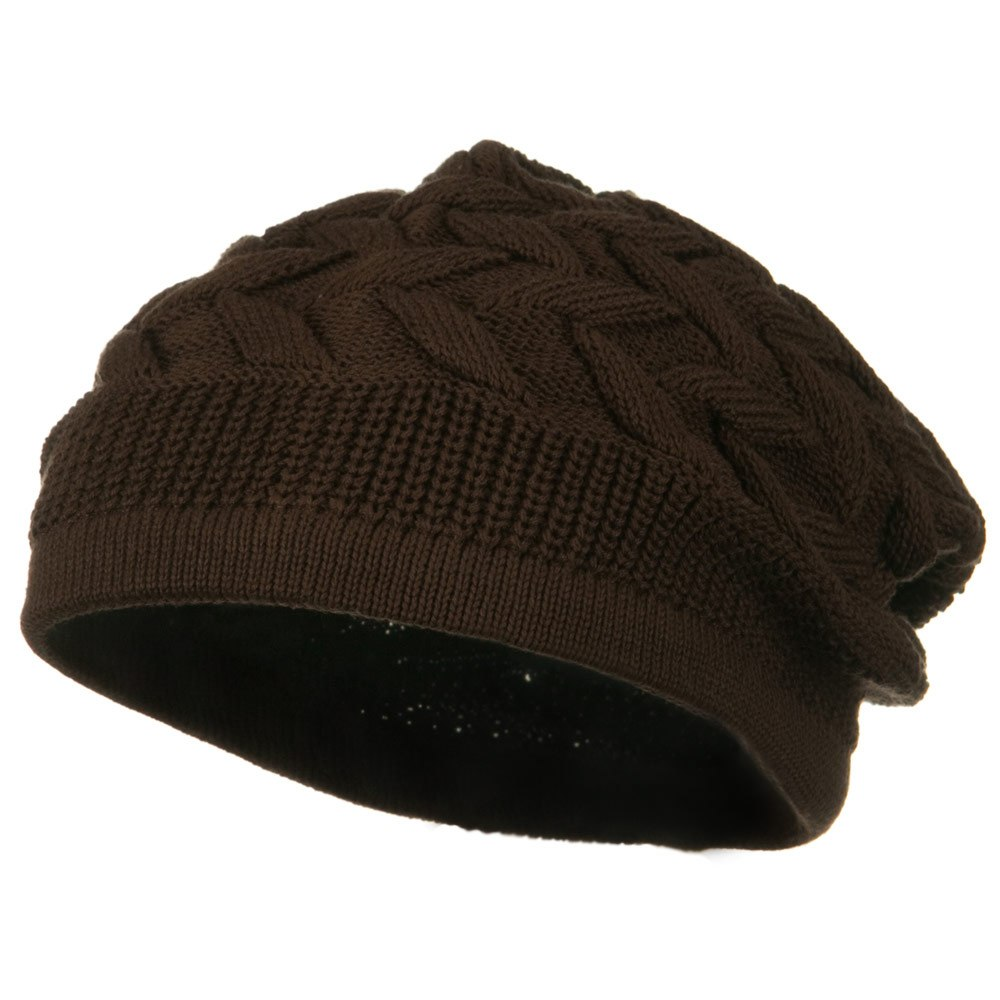 Cable Band Design Rasta Hat - Brown - Hats and Caps Online Shop - Hip Head Gear