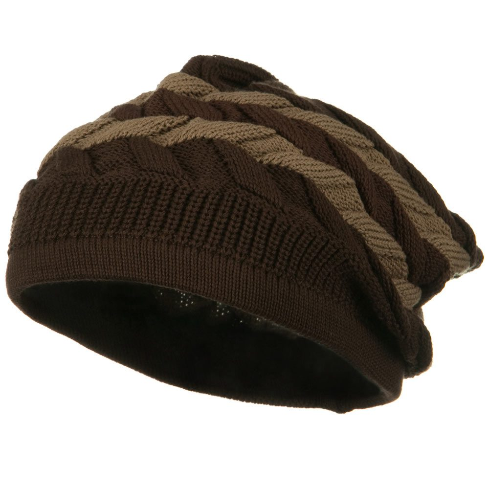 Cable Band Design Rasta Hat - Brown Khaki - Hats and Caps Online Shop - Hip Head Gear