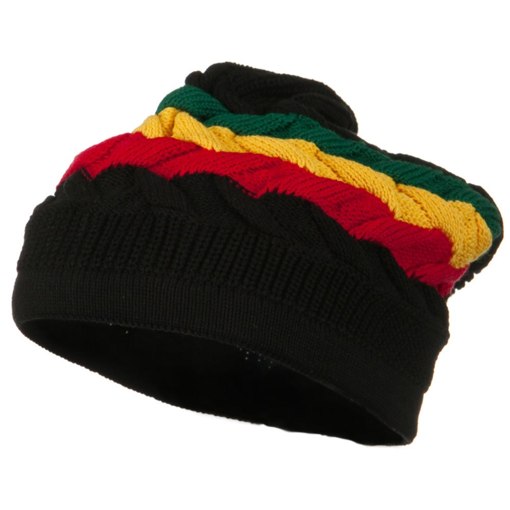 Cable Band Design Rasta Hat - Black RGY - Hats and Caps Online Shop - Hip Head Gear