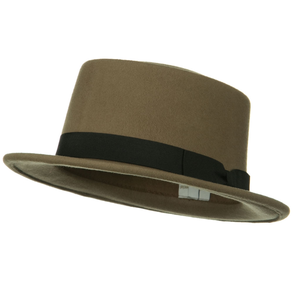 Band Wool Boater Hat - Taupe - Hats and Caps Online Shop - Hip Head Gear