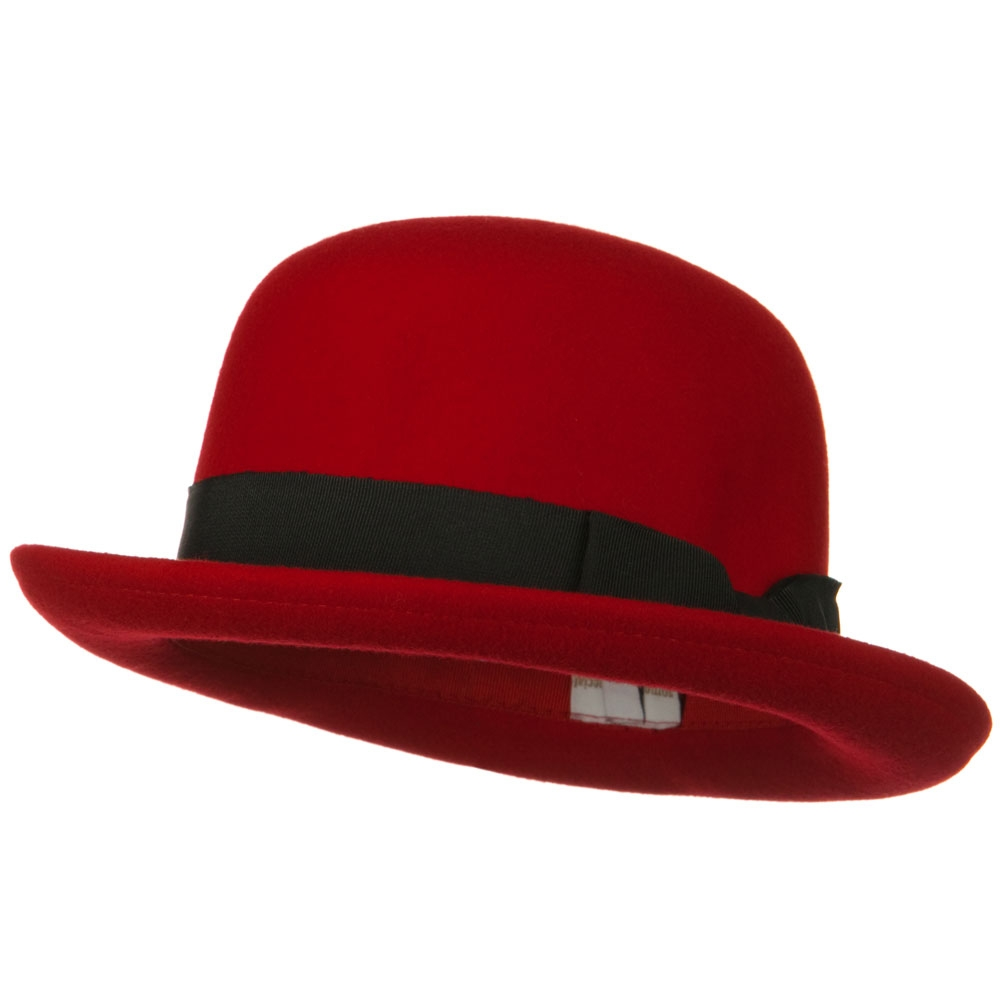 Wool Felt Bowler Hat - Red - Hats and Caps Online Shop - Hip Head Gear