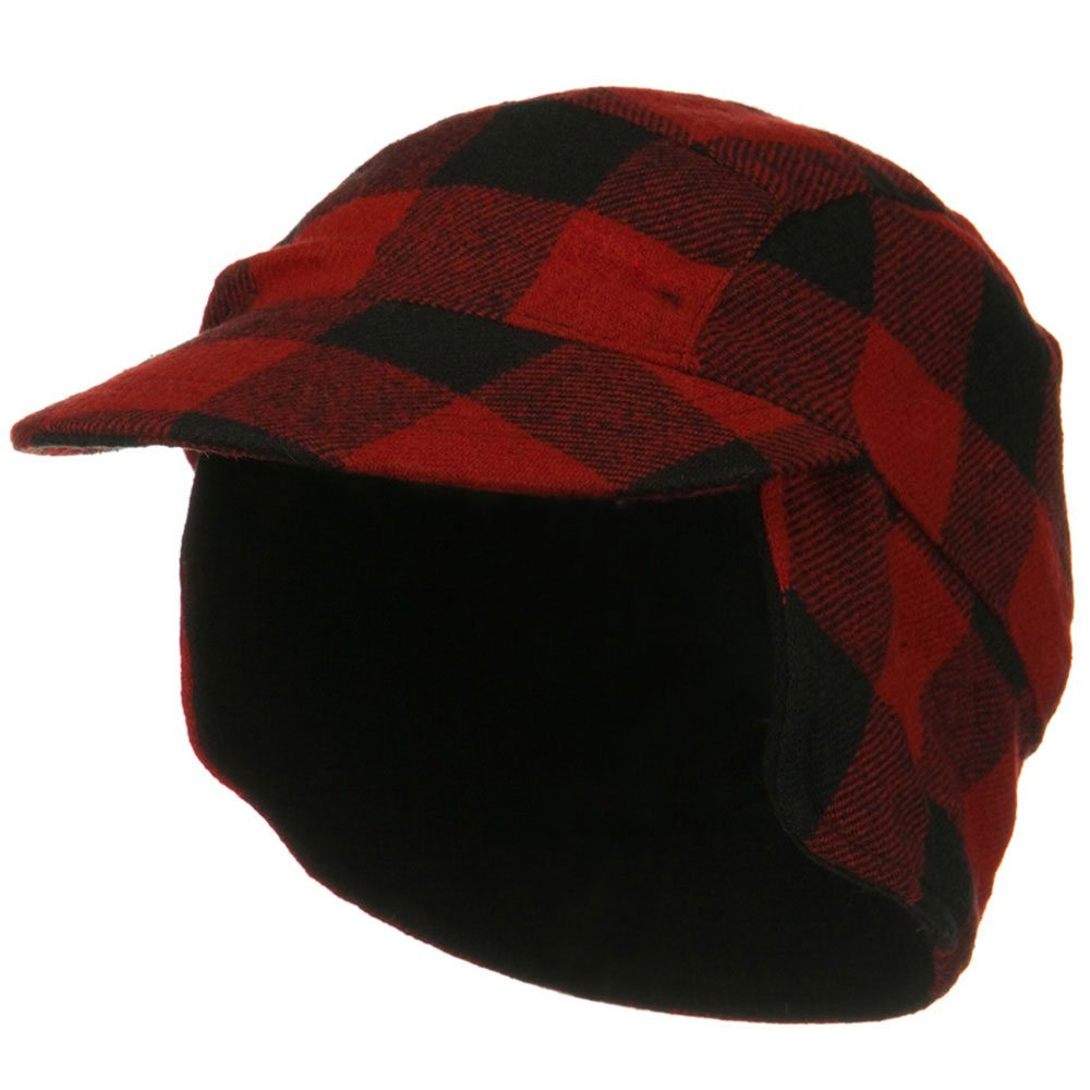 Fleece Lining Checker Trooper - Red Plaid - Hats and Caps Online Shop - Hip Head Gear