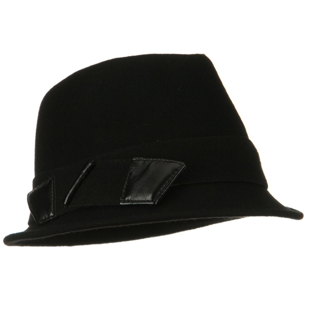 Leather Bow Wool Felt Fedora Hat - Black - Hats and Caps Online Shop - Hip Head Gear