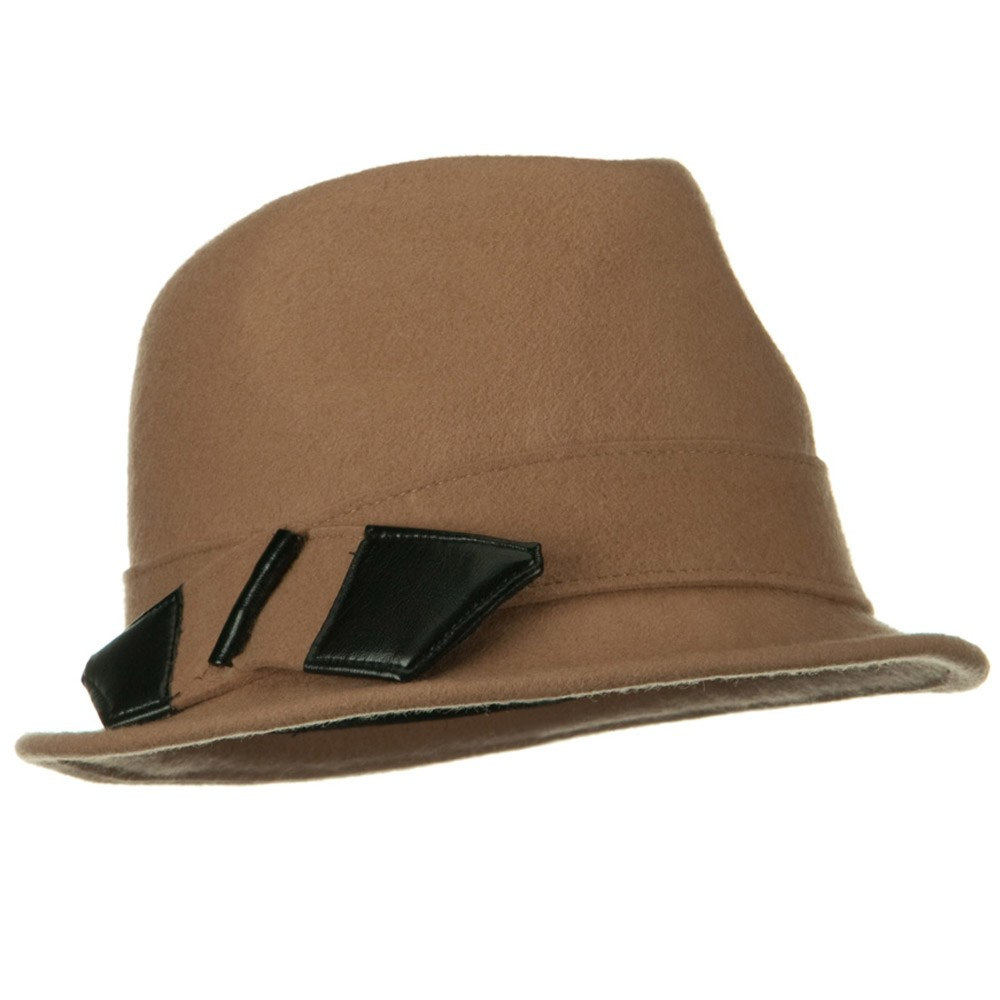 Leather Bow Wool Felt Fedora Hat - Light Brown - Hats and Caps Online Shop - Hip Head Gear