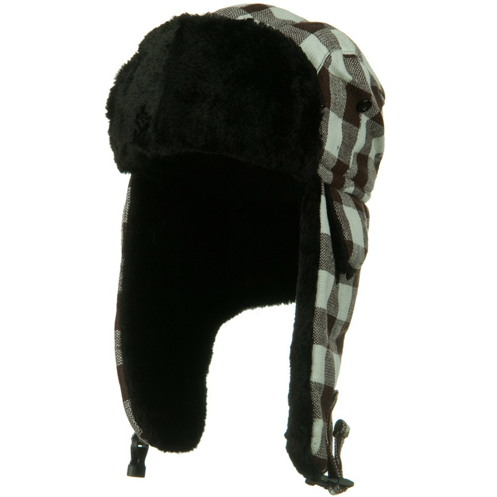 Checker Pattern Trooper Hat - Brown White - Hats and Caps Online Shop - Hip Head Gear