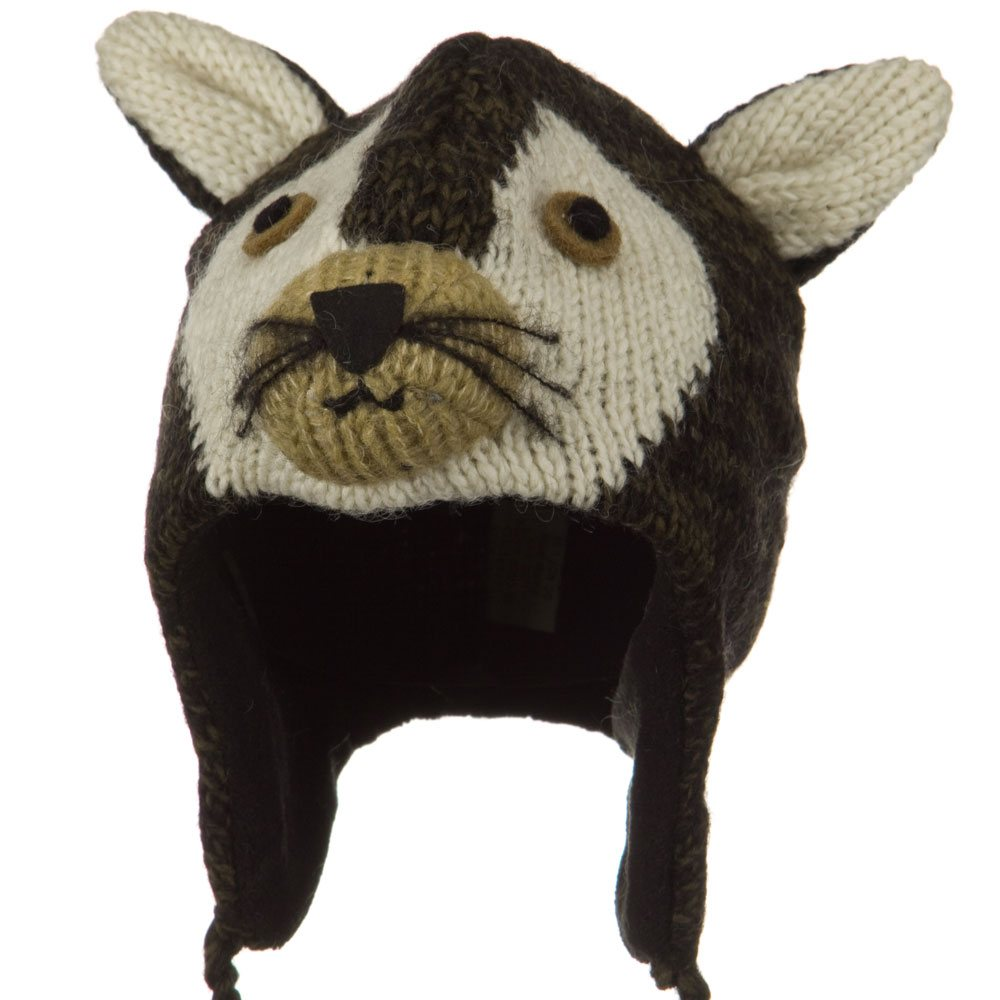 Adult Animal Wool Ski Beanie - Wolf - Hats and Caps Online Shop - Hip Head Gear