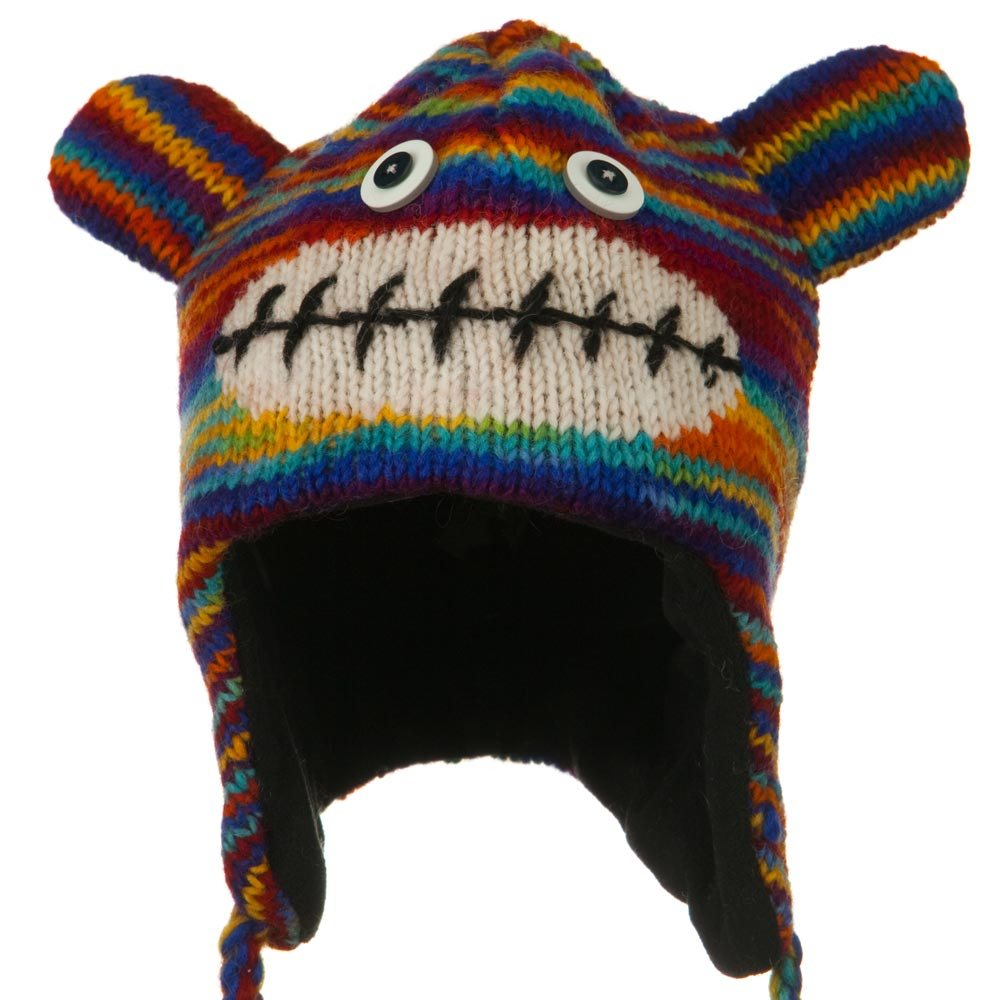 Adult Animal Wool Ski Beanie - Rainbow Monkey