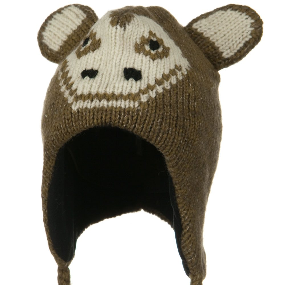 Adult Animal Wool Ski Beanie - Happy Monkey