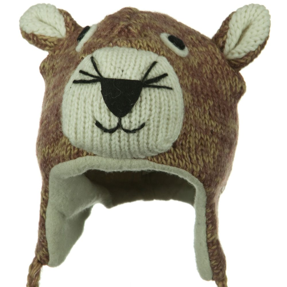 Adult Animal Wool Ski Beanie - Mountain Lion