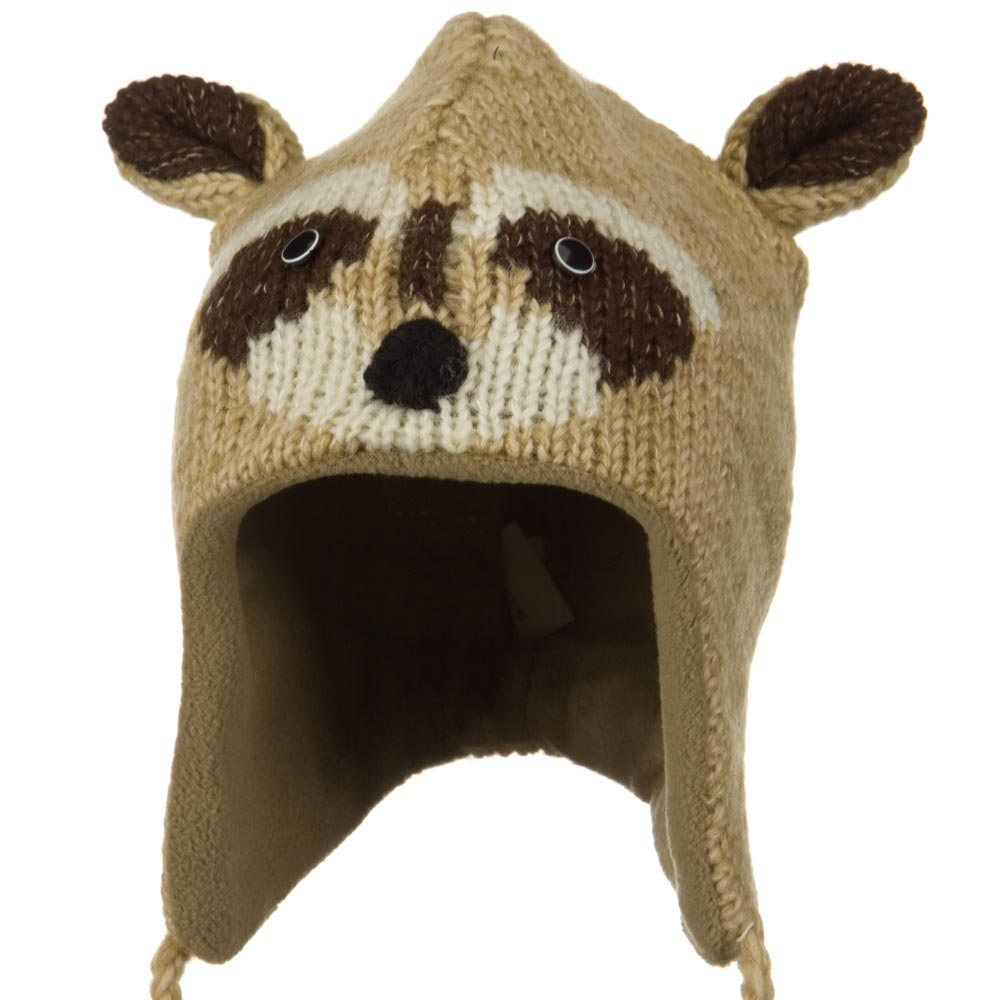 Adult Animal Wool Ski Beanie - Raccoon - Hats and Caps Online Shop - Hip Head Gear