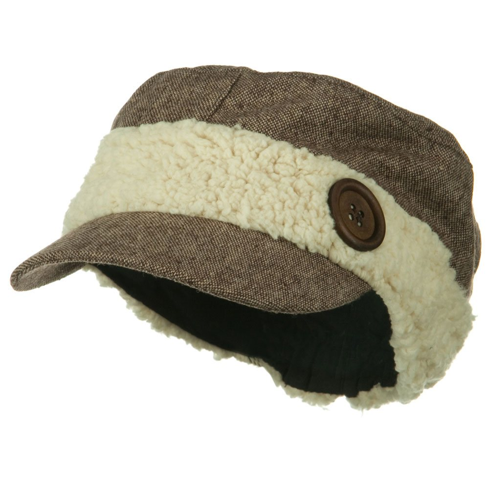 Sherling Band Military Hat - Brown - Hats and Caps Online Shop - Hip Head Gear