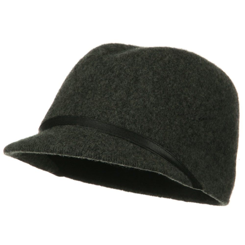 PU Band Wool Cap - Dark Grey - Hats and Caps Online Shop - Hip Head Gear