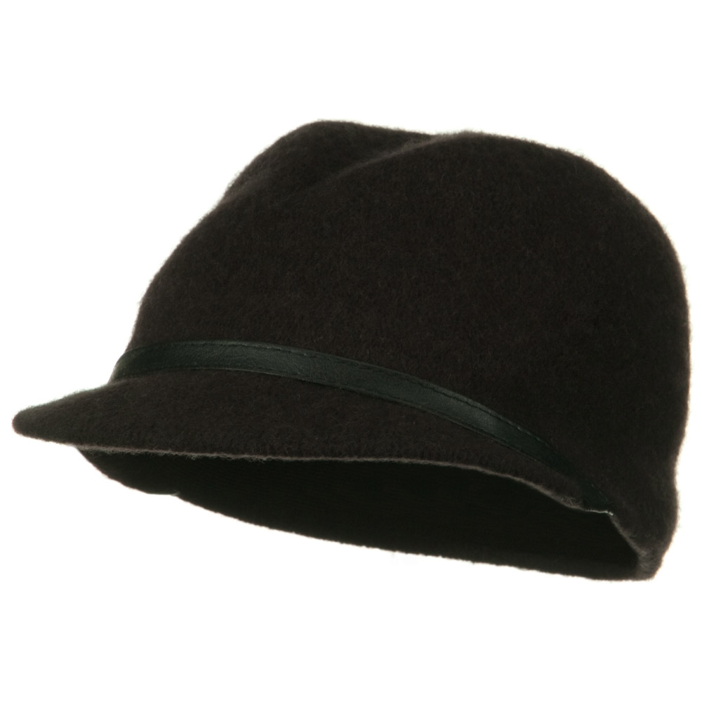 PU Band Wool Cap - Brown - Hats and Caps Online Shop - Hip Head Gear
