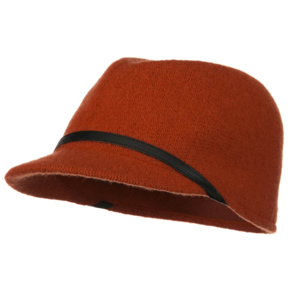 PU Band Wool Cap - Rust - Hats and Caps Online Shop - Hip Head Gear