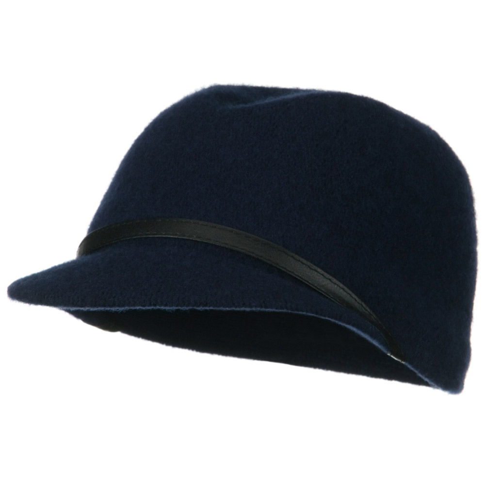 PU Band Wool Cap - Navy - Hats and Caps Online Shop - Hip Head Gear