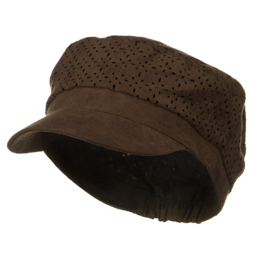 Laser Cut Crown Military Cap - Brown - Hats and Caps Online Shop - Hip Head Gear