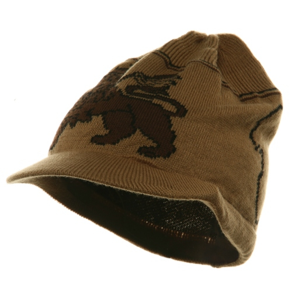 Small Lion Rasta Beanie Visor Hat-Khaki Brown - Hats and Caps Online Shop - Hip Head Gear