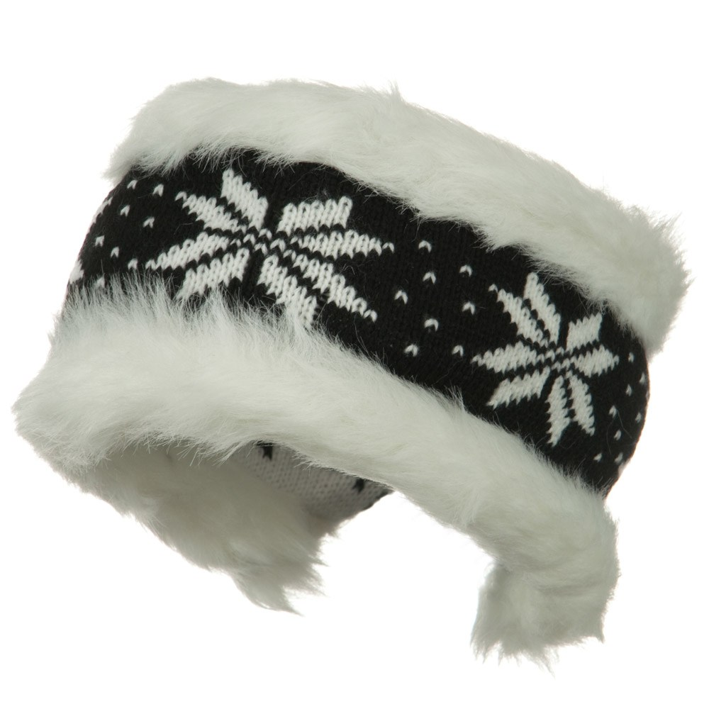 Fur Trim Knit Head Band - Black White - Hats and Caps Online Shop - Hip Head Gear