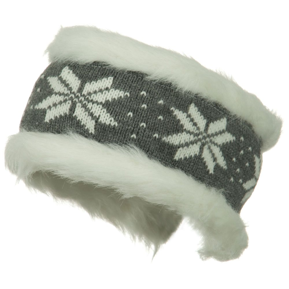 Fur Trim Knit Head Band - Grey White - Hats and Caps Online Shop - Hip Head Gear