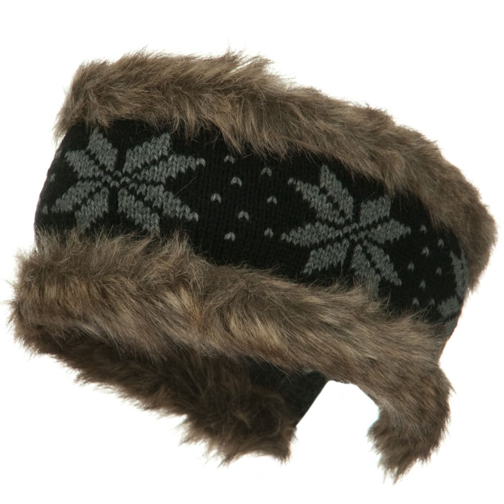 Fur Trim Knit Head Band - Black Grey - Hats and Caps Online Shop - Hip Head Gear