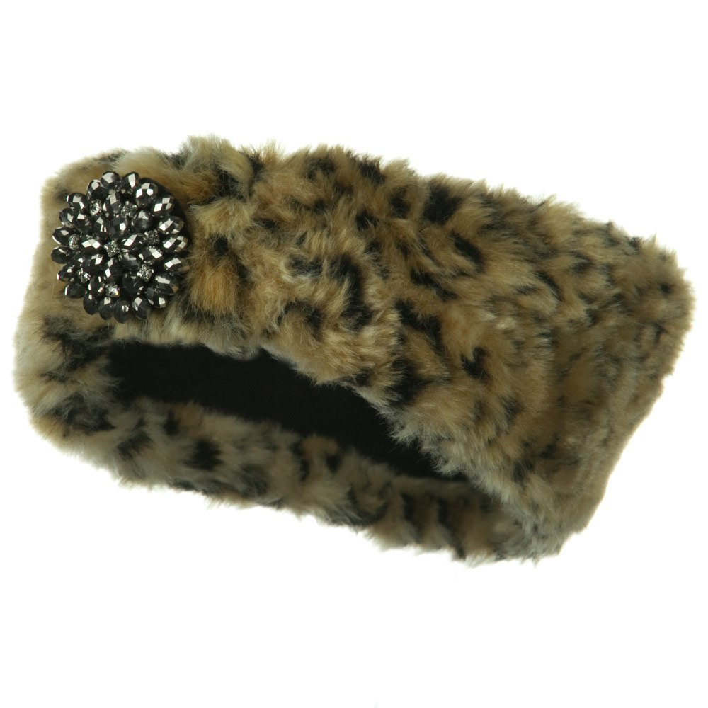 Hematite Stone Fur Headband - Cheetah - Hats and Caps Online Shop - Hip Head Gear