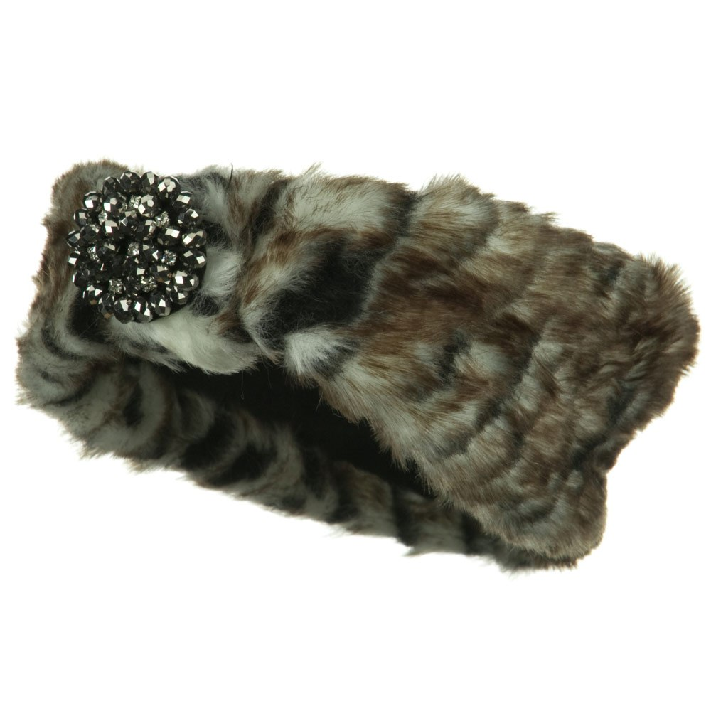 Hematite Stone Fur Headband - Zebra - Hats and Caps Online Shop - Hip Head Gear
