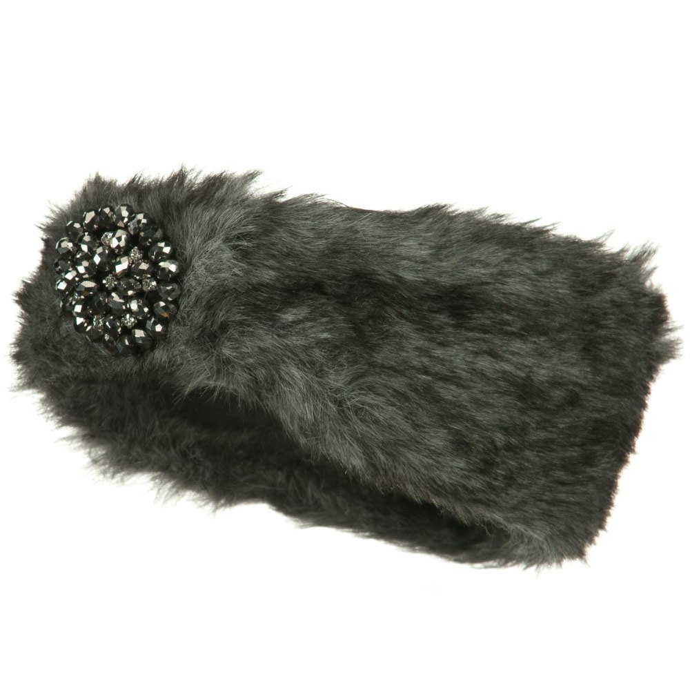Hematite Stone Fur Headband - Grey - Hats and Caps Online Shop - Hip Head Gear