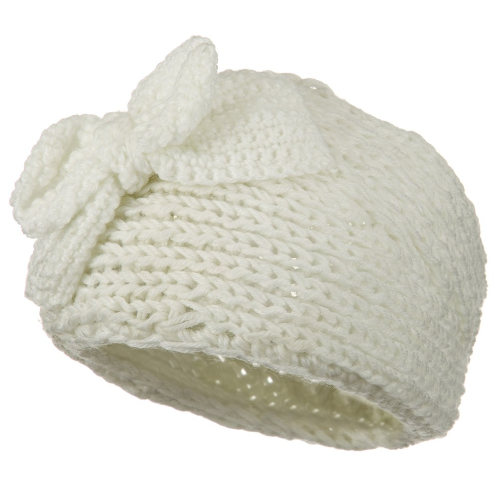 Button Closure Wide Knit Head Band - Cream - Hats and Caps Online Shop - Hip Head Gear