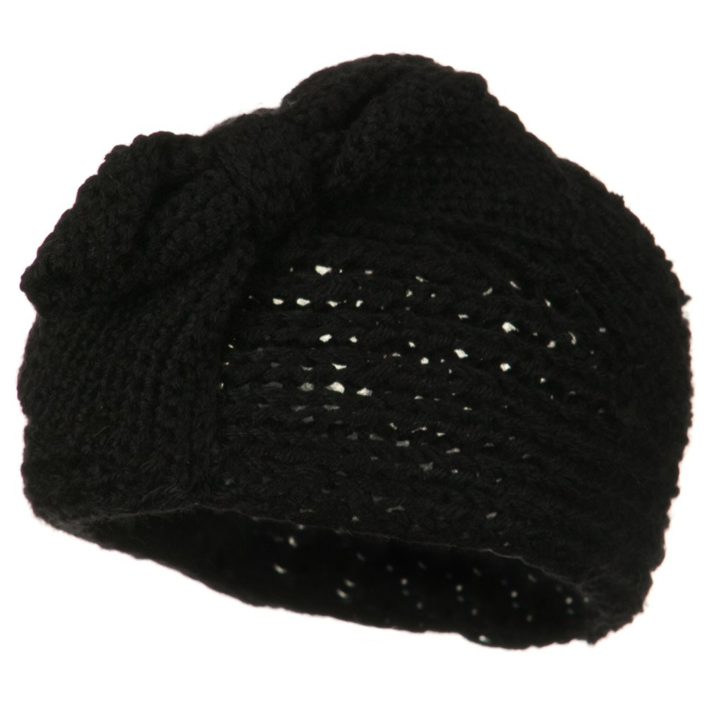Button Closure Wide Knit Head Band - Black - Hats and Caps Online Shop - Hip Head Gear