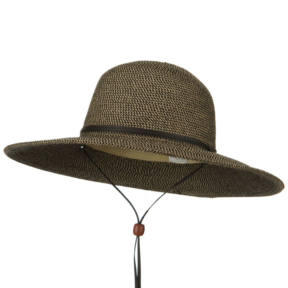 Flat 4 Inches Brim Straw Hat - Black Tweed - Hats and Caps Online Shop - Hip Head Gear