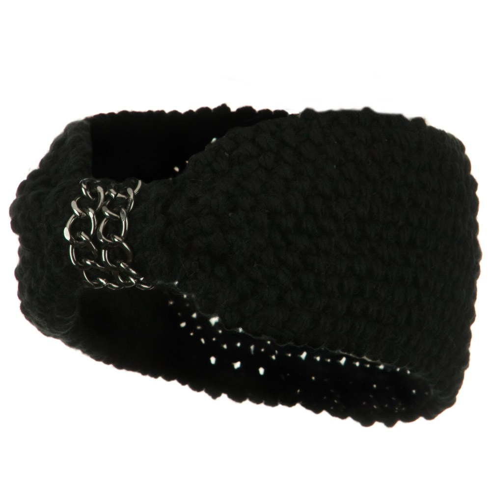 Chain Decoration Knit Headband - Black - Hats and Caps Online Shop - Hip Head Gear