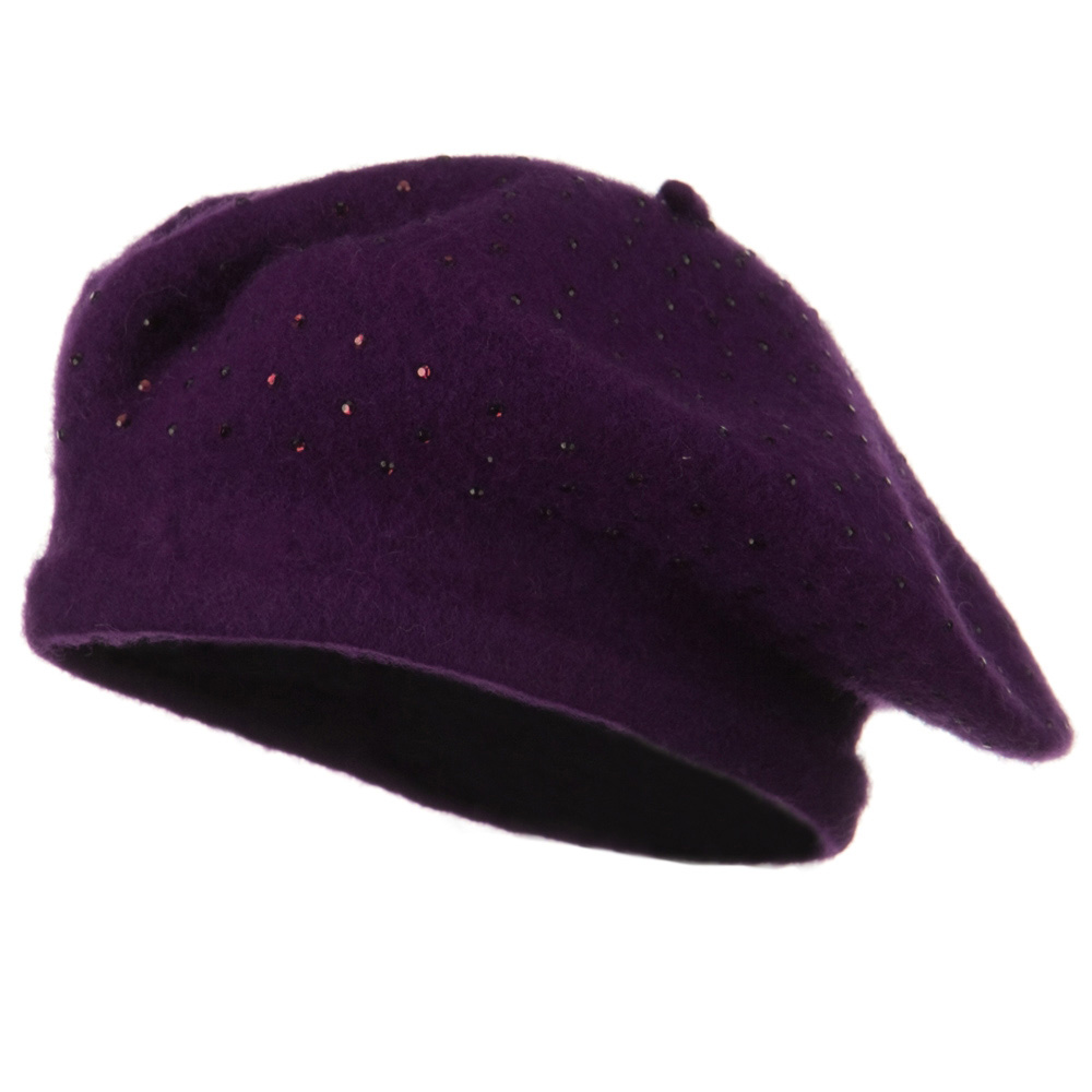 Stone Wool Beret - Purple - Hats and Caps Online Shop - Hip Head Gear