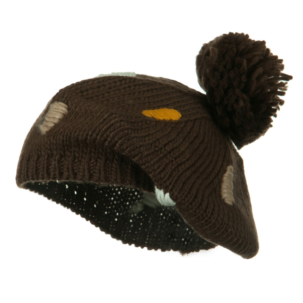 Pom Ball Knit Beret - Brown - Hats and Caps Online Shop - Hip Head Gear