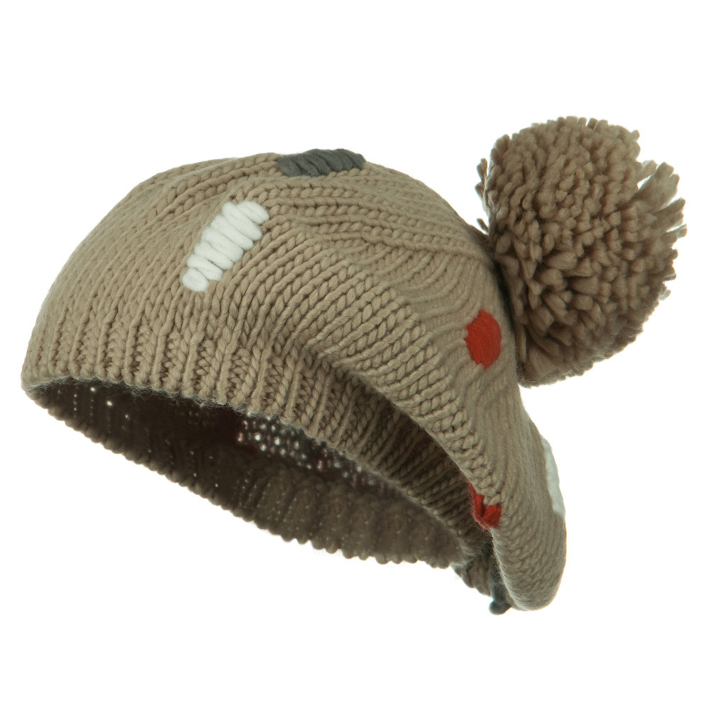 Pom Ball Knit Beret - Taupe - Hats and Caps Online Shop - Hip Head Gear