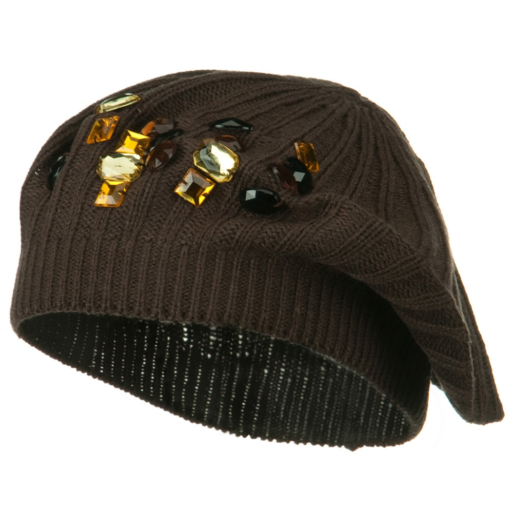 Big Stone Knit Beret - Brown - Hats and Caps Online Shop - Hip Head Gear