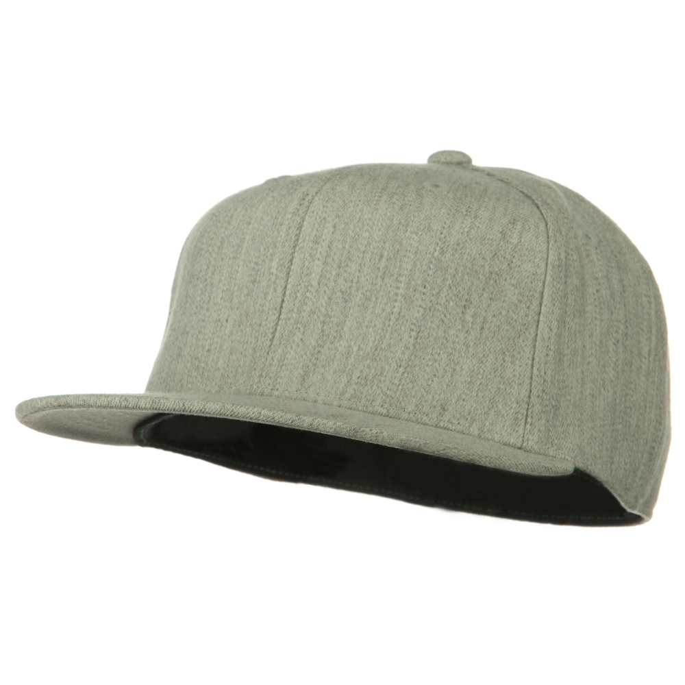 Big Size Premium Fitted Flat Bill Cap - Heather Grey - Hats and Caps Online Shop - Hip Head Gear
